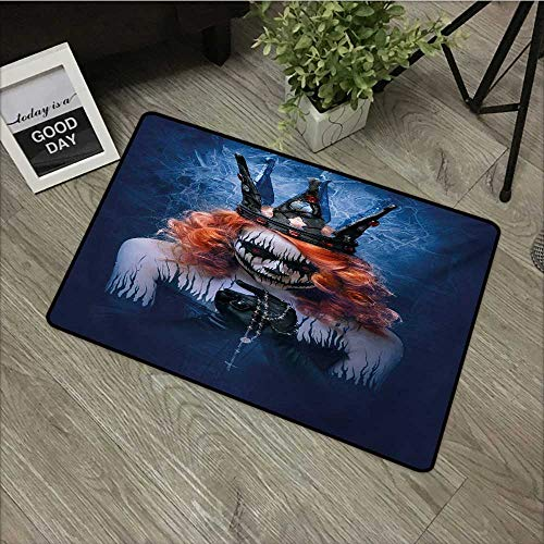 Clear printed pattern door mat W35 x L47 INCH Queen,Queen of Death Scary Body Art Halloween Evil Face Bizarre Make Up Zombie,Navy Blue Orange Black Non-slip, with non-slip backing,Non-slip Door Mat Ca -