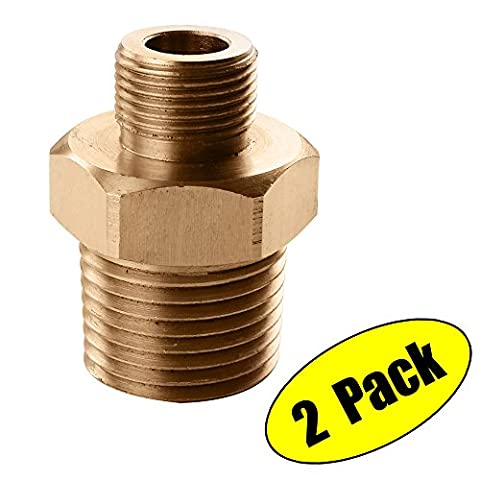 KES Lead-Free Faucet Supply Line Adapter 3/8-Inch Compression Male to 1/2-Inch NPT Male Converter 2 Pack, SOLID Brass, (Plumbing Supplies)
