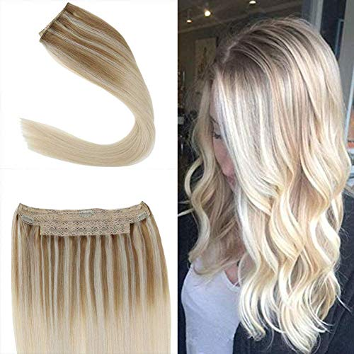 Youngsee 12 inch Blonde Halo Hair Extensions Human Hair Balayage Ombre Nodic Blonde Invisible Wire Extensions Real Human Hair 80g/set