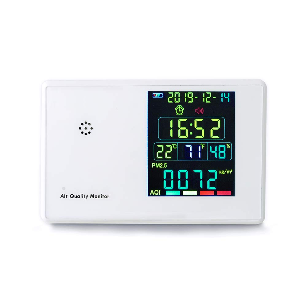 Air Quality Monitor Indoor Formaldehyde Air Detector with LCD Display for Accurately Testing PM2.5/PM10 HCHO TVOC HCHO(Formaldehyde) CO2 Temperature Humidity, Alarm Clock Function Available