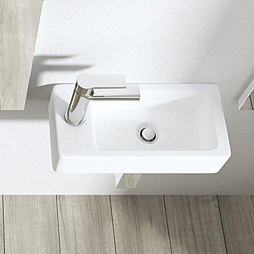 BTH: 36x18x9,5 cm Design Hängewaschbecken Brüssel3053R, aus Keramik, eckige Form, Waschschale, Waschtisch