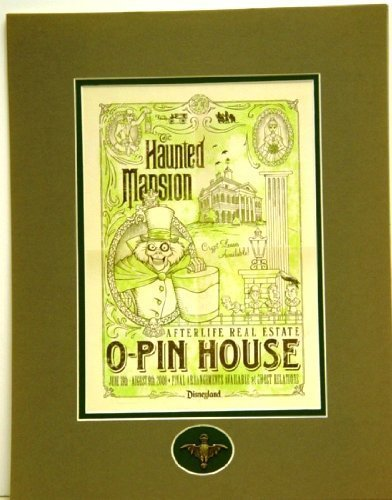 Disneyland Official Haunted Mansion O-Pin House Lithograph Matted with Pin 14 x 18 Inches ()