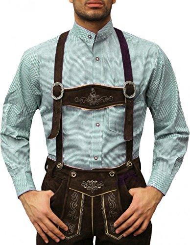 Trachtenhemd mit Stehkragen für Trachtenlederhosen Grün/kariert, Hemdgröße:XL