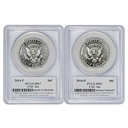 2014-P/&D Kennedy Half 50th Anniversary Uncirculated Set SP67 PCGS First Strike