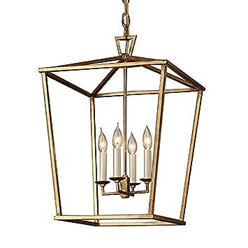 Seeksung Industriel Métal Rectangulaire 4 Lumière Maille Ombre Rustique Lanterne Cuisine Foyer Pendentif Lustre Plafonnier Suspendu Luminaire En Brun
