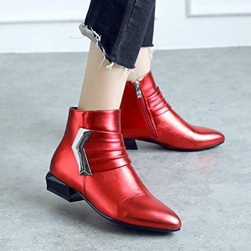 AIYOUMEI Damen Herbst Winter Chunky Heel Kurzschatf Stiefeletten mit Reißverschluss Bequem Ankle Boots Rot