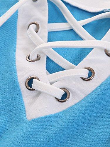 Blouse Femmes Advocator Chemises Plein Up en Air Block Lace Longues Manches Avant Color Cou O Shirt Bleu Sport Tops T Casual Baseball 7gwgqdp