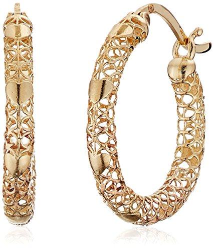 10k Yellow Gold Mesh Hoop Earrings