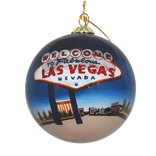 Hand Painted Glass Christmas Ornament - Welcome Sign Las Vegas