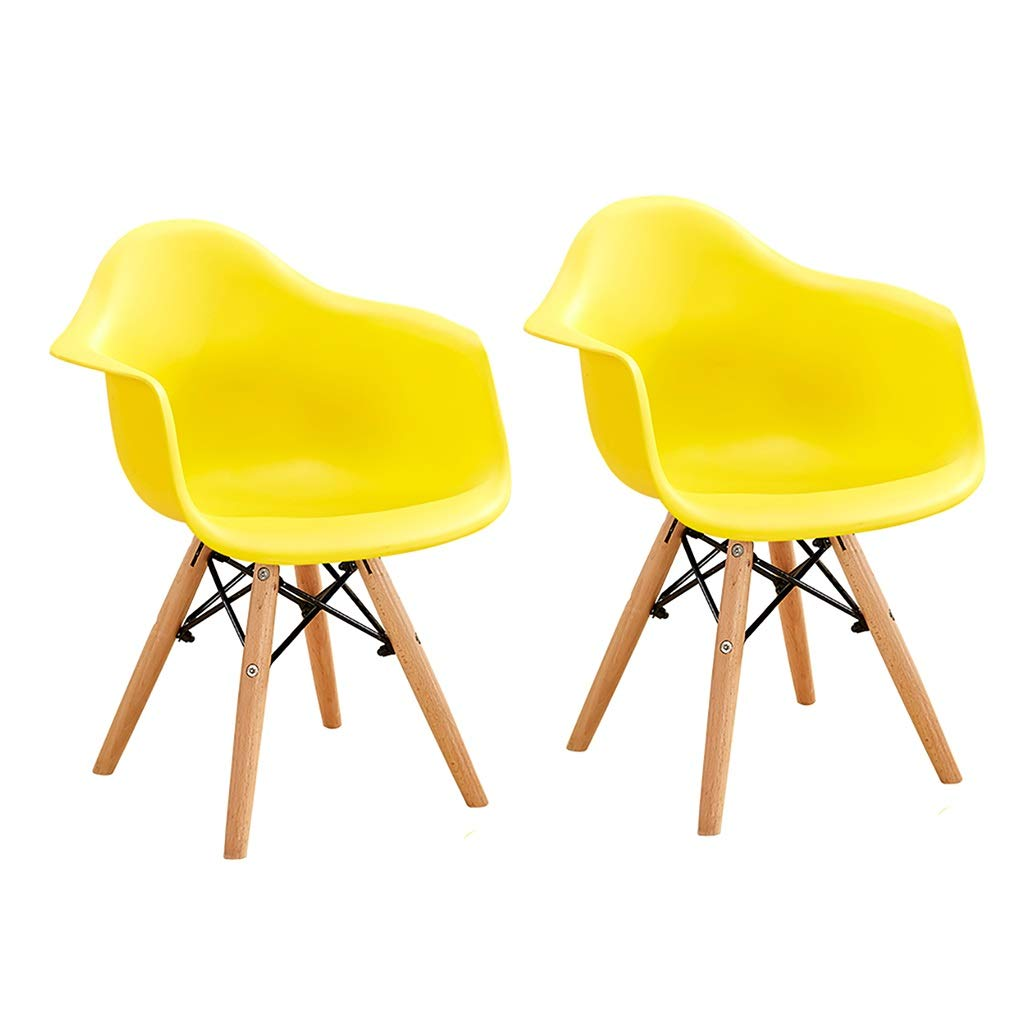 Yellow×2 NUBAO Baby Chair, Kitchen Restaurant Dining Chair, Breakfast Bar Chair, PP Chair Surface Rebar Connection Home Solid Wood Lounge Chair 30cm 6 colors (color   RED)