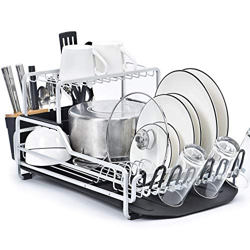 KINGRACK Dish Rack, 2-Tier XXL Aluminum Dish Drying Rack with Drain board, Customizable Dish Holder Set with Removable Top Shelf, Cutlery Holder & Cup Holder, Large Capacity Dish Rack for Kitchen (Large Rack Dish)
