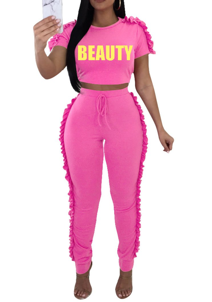 LAFASO Womens Two Piece Ruffle Jogger Short Sleeve Long Pants Tracksuit