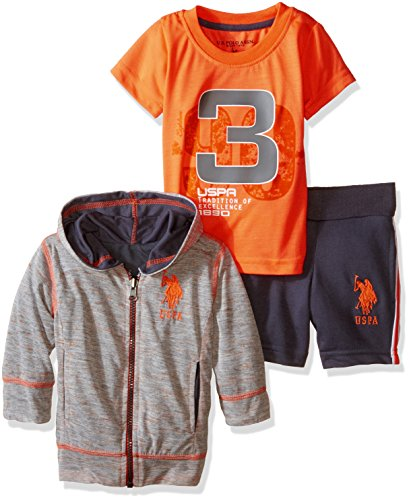 U.S. Polo Assn. Baby Boys' 3 Piece Reversible Hoodie, T-Shirt and Short, Neon Orange, 12 Months ()