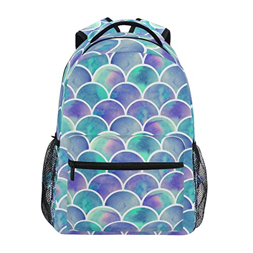 ZZKKO Colorful Mermaid Scale Backpacks College School Book Bag Travel Hiking Camping Daypack