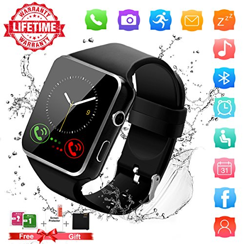 Smart Watch,Bluetooth Smartwatch Touch Screen Wrist Watch with Camera/SIM Waterproof Phone Smart Watch Sports Fitness Tracker for Android iPhone IOS Samsung Huawei Sony for Kids Women Men (X6-Black) by Topffy