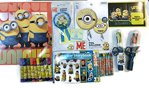 Minions gift set for Valentines Day Birthday or any occassion : Coloring book,crayons ,Markers,Pack of Foil ballon,Valentines day card , notepad,candy,sticker storybook with playscenes & Ribbon