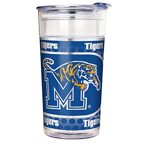 NCAA Memphis Tigers Double Wall Acrylic Party Cup with Metallic Graphics, 22-Ounce, Clear
