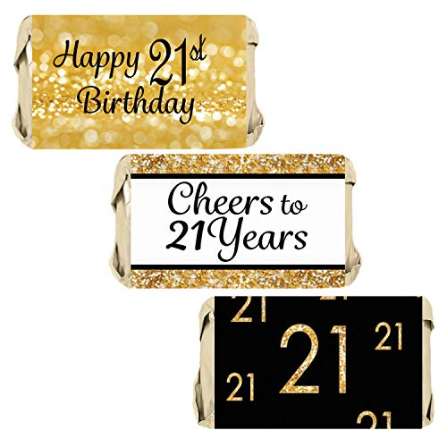 Black and Gold 21st Birthday Party Mini Candy Bar Wrappers | 45 Stickers