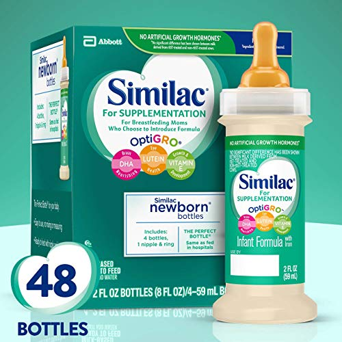Similac for Supplementation, 48 Bottles, Gentle, Non-GMO Infant Formula, for Breastfed Babies, with Prebiotics, Supports Brain & Eye Development, Ready to Feed, 2-fl-oz Bottle