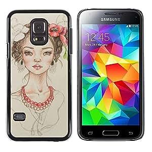 TopCaseStore / la caja del caucho duro de la cubierta de protección de la piel - Pearl Fashion Portrait Beige - Samsung Galaxy S5 Mini, SM-G800, NOT S5 REGULAR!