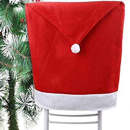 Kensington Retail 6x Santa Hat Dining Chair Covers For Christmas Table Decorations