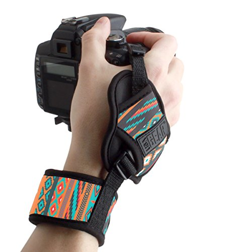 Professional Camera Grip Hand Strap with Southwest Padded Neoprene Design and Metal Plate by USA Gear - Works with Canon, Fujifilm, Nikon, Sony and More DSLR, Mirrorless, Point & Shoot Cameras