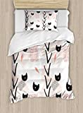Ambesonne Modern Duvet Cover Set Twin Size, Cute Cat Faces with Dotted Whiskers Kittens Animals Kids Nursery Theme, Decorative 2 Piece Bedding Set with 1 Pillow Sham, Dark Coral Black Peach