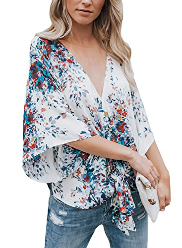 ELF QUEEN White_Blue Blouses for Women Summer Lightweight Flowerlet Print Shirts Casual Tops Large