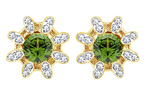 (Round Cut Simulated Peridot Beauty Flower Women Stud Earrings In 14K Yellow Gold Over Sterling Silver)