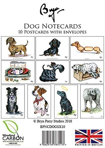 10 Cartoon dog notecards with envelopes by Bryn Parry. Perfect for thank you's, short letter and thank you's Charles Sainsbury-Plaice