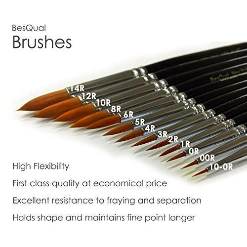 15 Pieces Quality Besqual Porcelain Brush Set Black Handle by Besqual