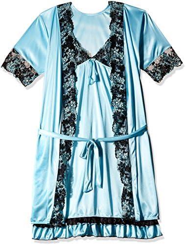 Clovia Women s Nightdress (Pack of 2) (NS0451P03 Blue Small)  Amazon ... 835c7ed18