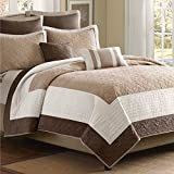 Luxury Comfort Bedding & Quilt Set on Clearance for Bedroom, 7 Piece Beige & Ivory, Full / Queen