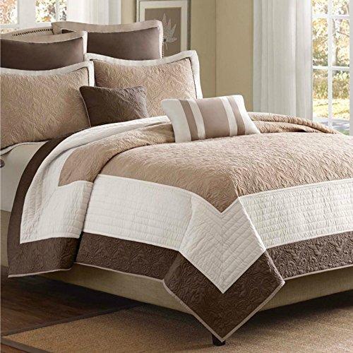 Luxury Comfort Bedding & Quilt Set on Clearance for Bedroom, 7 Piece Beige & Ivory, Full / Queen