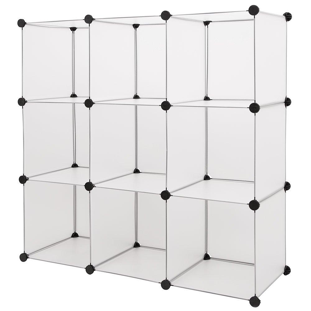 PP-Kunststoffregal Faltregal Kleiderregal W/äscheregal Weiss mit 8 F/ächern und einem Kleiderstangenfach 145 x 110 x 37cm neu.holz Garderobe Regalsystem weiss