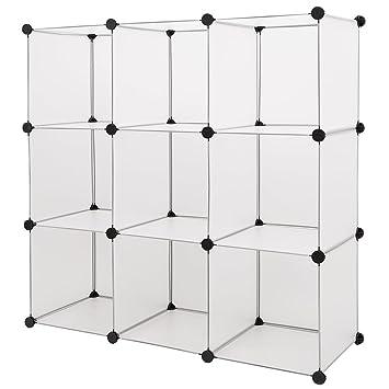 Steckregal kunststoff grau  neu.haus] Regalsystem DIY mit 9 Fächern weiß [112x112cm ...