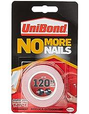 UniBond No More Nails op een rol, dubbelzijdig plakband voor betrouwbare onmiddellijke hechting, multifunctioneel plakband, plakstrips voor binnen en buiten, 19 mm x 1,5 m rol