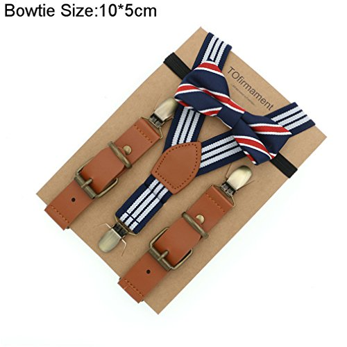 Love Leather Shape Kids Suspender Bow Tie Ring Bear Boy Packed Gift Adjustable 12 by ADJES