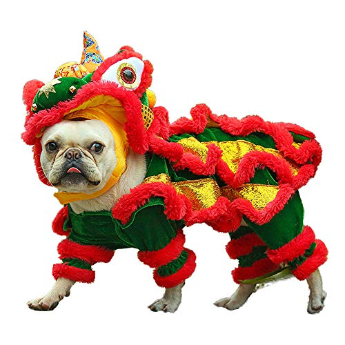 Dog Costume Lion Dance Dog Costume, Chinese New Year Style Costume Lion Dance Dragon Dancec Clothing, Cute Lion Head Dance Cloth for Pet Dog Chritmas Halloween Costume]()