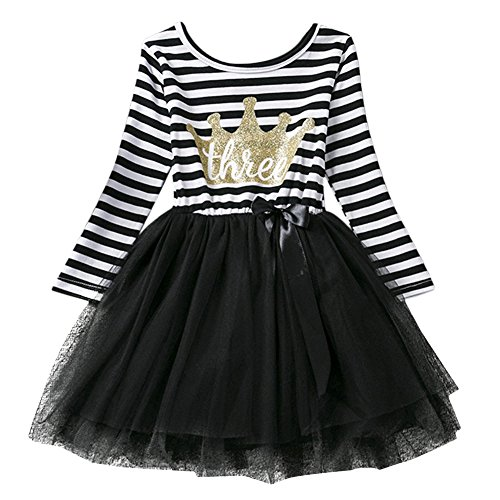 Baby Girls Shinny Striped Crown 1st/2nd Birthday Long Sleeve Princess Cake Smash Tutu Tulle Dress Toddler Kids Outfit Black Crown(Three Years) One Size (Birthday Girl Outfit)