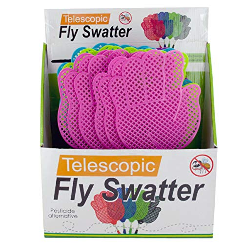 Giant Hand Shape Telescopic Fly Swatter Countertop Display - 24/Case (1 Case)