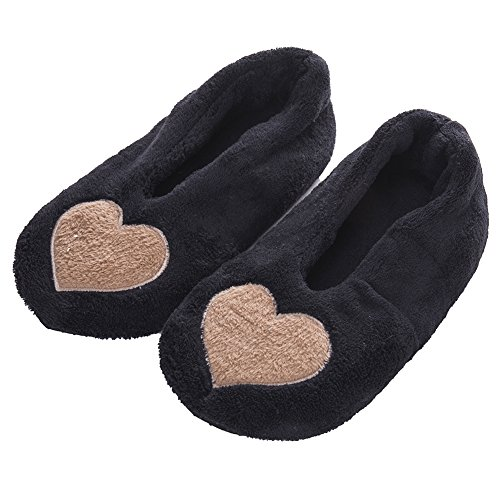 de de Zapatillas Las Felpa Negro Antideslizantes Mujeres del aman Interiores Zapatos los Calientes Corazón FRALOSHA Rn41n