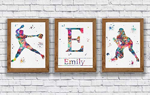 (Personalised Softball Player Watercolor Prints Set Pitcher and Catcher Girl's Room Decor Play Room Wall Art Kid's Room Artworks Wall Hanging House Warming Archival Fine Art Softball Player Gift)