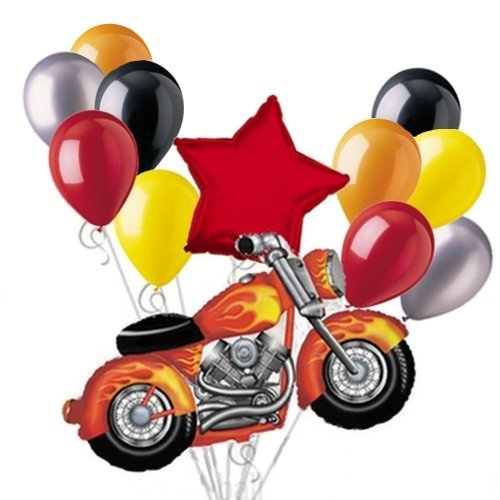 Harley Davidson Wedding Theme (Snarly Motorcycle Balloon Bouquet Set with Red Star)