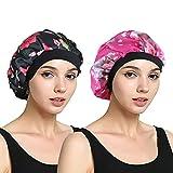EINSKEY Womens Satin Bonnet 2-Packs Sleeping Cap Night Cap Hair Cap with Elastic Band