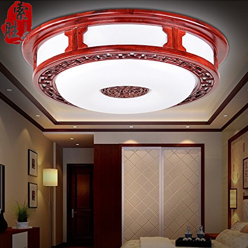 BLYC- Chinesische dimmbare Deckenleuchte Runde solide Holz-Relief-Minimalist führte Lichter Restaurant Lampe Schlafzimmer Wohnzimmer Lampe Lampen in der Studie 430mm