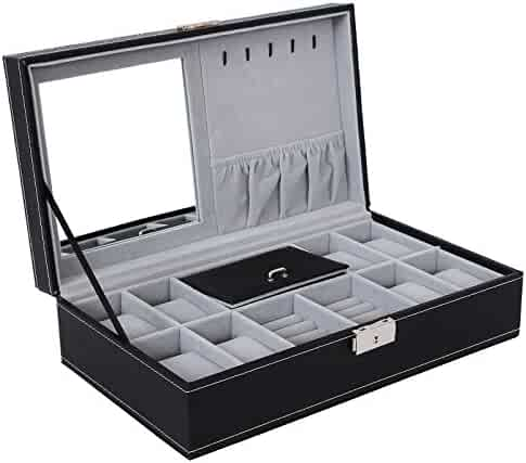 SONGMICS Black Jewelry Box, 8-Slot Watch Organizer, Storage Case with Lock and Mirror UJWB41B
