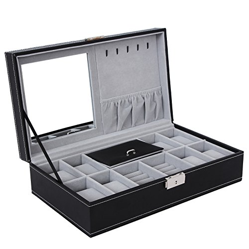 SONGMICS Black Jewelry Box 8 Watch Organizer Faux Leather Storage Case with Lock & Mirror UJWB41B
