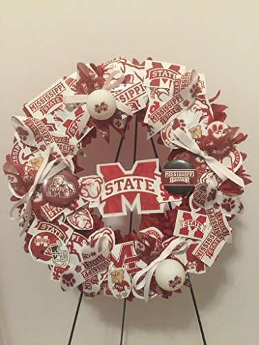 COLLEGE PRIDE - MSU -MISSISSIPPI STATE UNIVERSITY - BULLDOGS - DAWGS - DORM DECOR - DORM ROOM - COLLECTOR WREATH - MAROON DAHLIAS AND CHRYSANTHEMUMS by Peters Partners Design (Image #1)