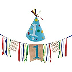 Sterling James Co. Boy First Birthday Decorations - 1st Birthday - Burlap Highchair Banner and Felt Hat Pack